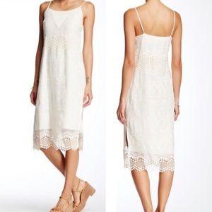 1. State silk embroidered Souce Market midi dress